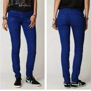 Free People Utility Jeans Moto SZ 25 Zipper Skinny